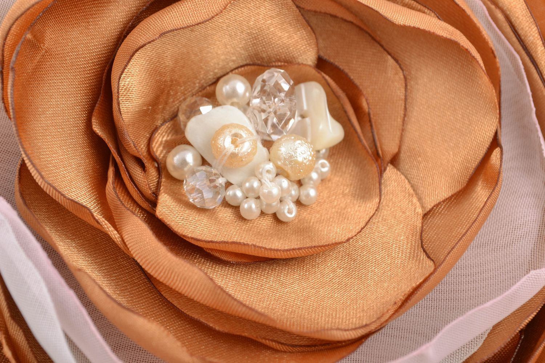 Handmade satin ribbon brooch with beads Peony photo 3