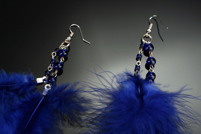 chandelier earrings Long earrings with feathers - MADEheart.com