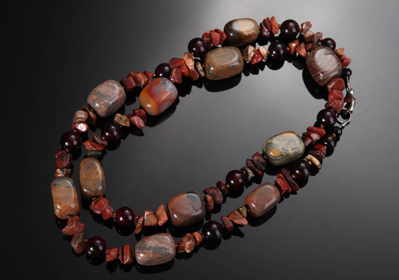 birthstone necklaces Handmade jasper beads - MADEheart.com