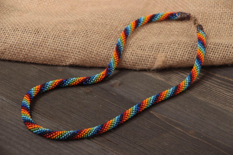 Buntes langes handgemachtes geflochtenes Litze Collier aus Glasperlen Halskette foto 1