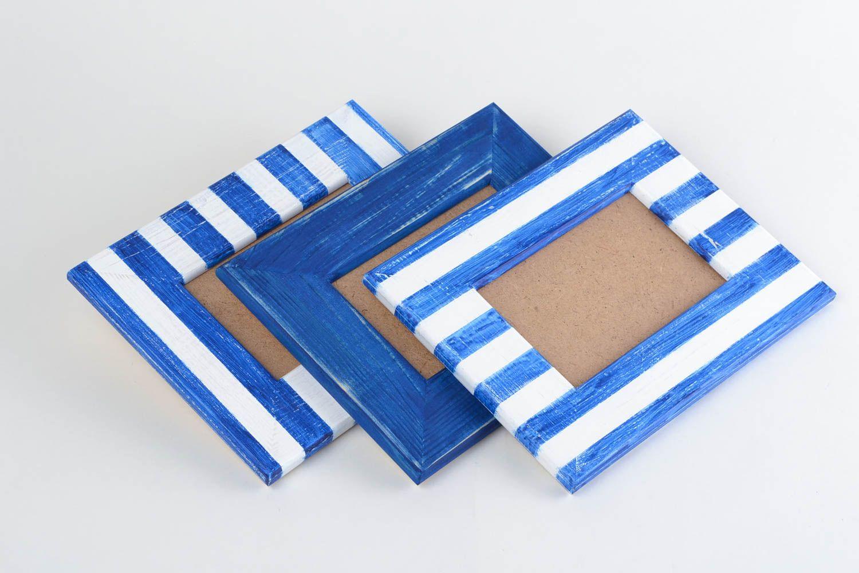 Unusual handmade designer painted wooden photo frames set 3 pieces 10х15 photo 3