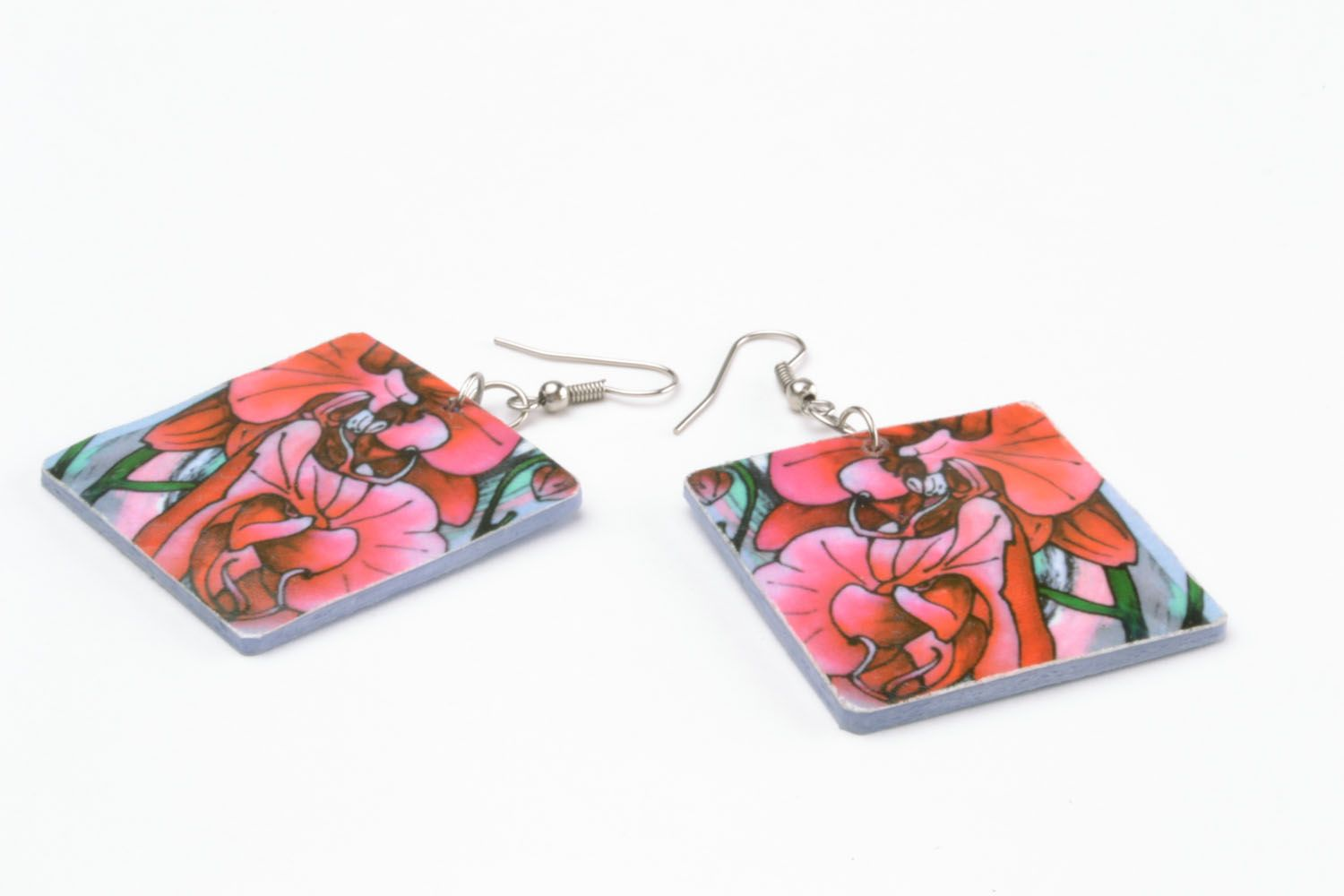 Colourful earrings made of polymer clay photo 4