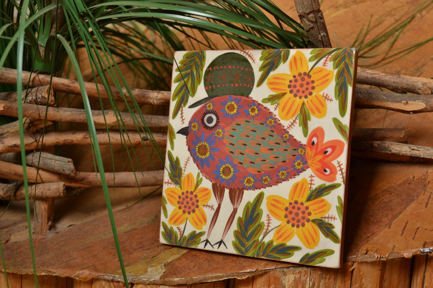 decorative handmade tiles Handmade designer ceramic facing tile painted brightly with natural dyes engobes - MADEheart.com