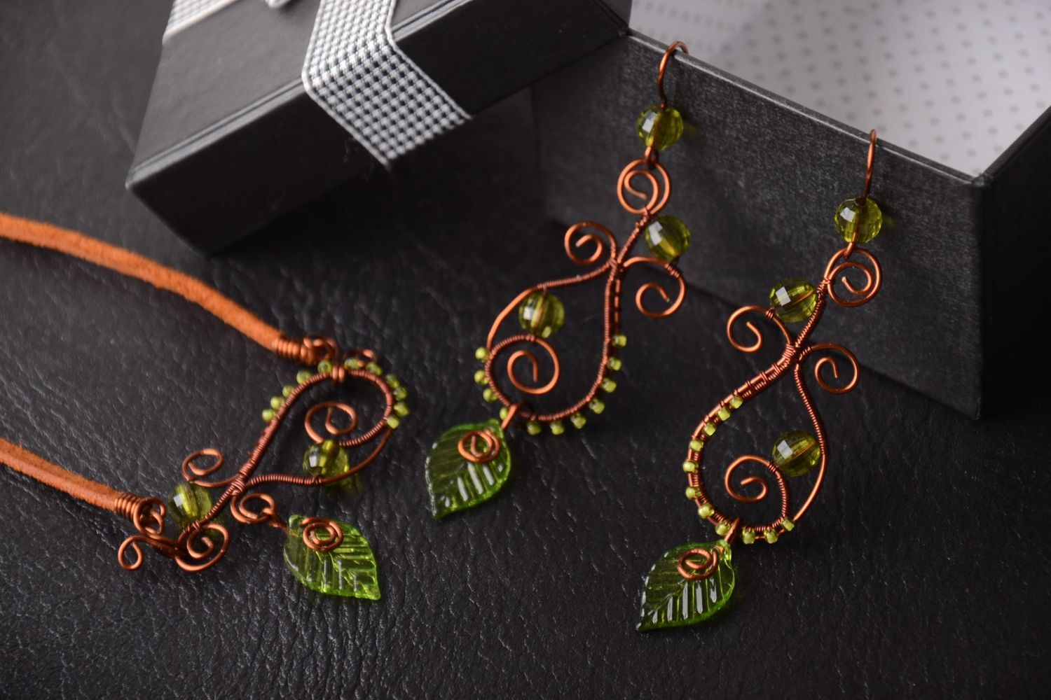Handmade jewelry set of 2 items copper accessories for women gift ideas photo 1