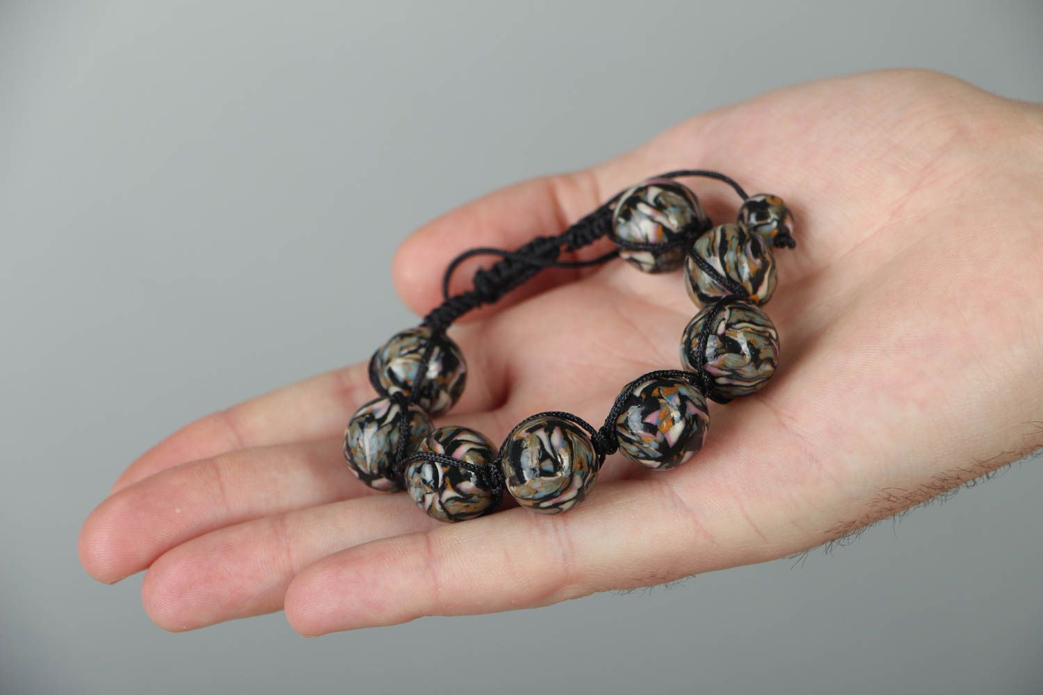 Woven bracelet with polymer clay beads photo 3