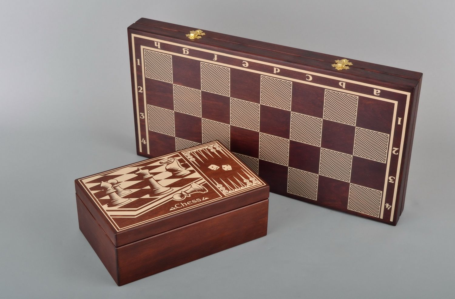 Wooden chess set 3 in 1 checkers, chess and backgammon photo 5