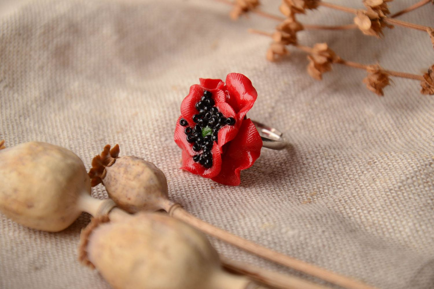 Polymer clay flower ring Poppy photo 1