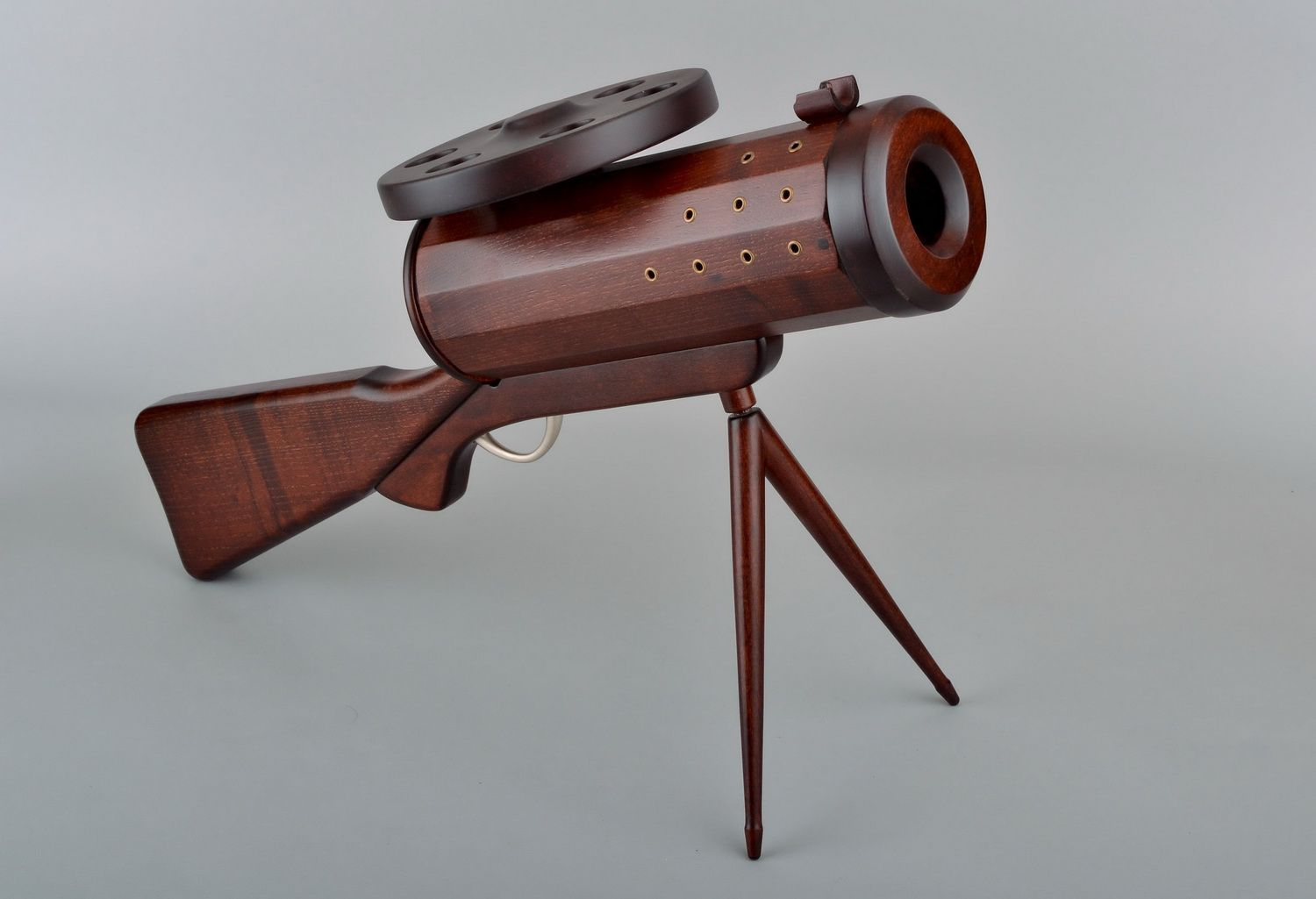Wooden wine bottle stand in the form of a gun photo 2