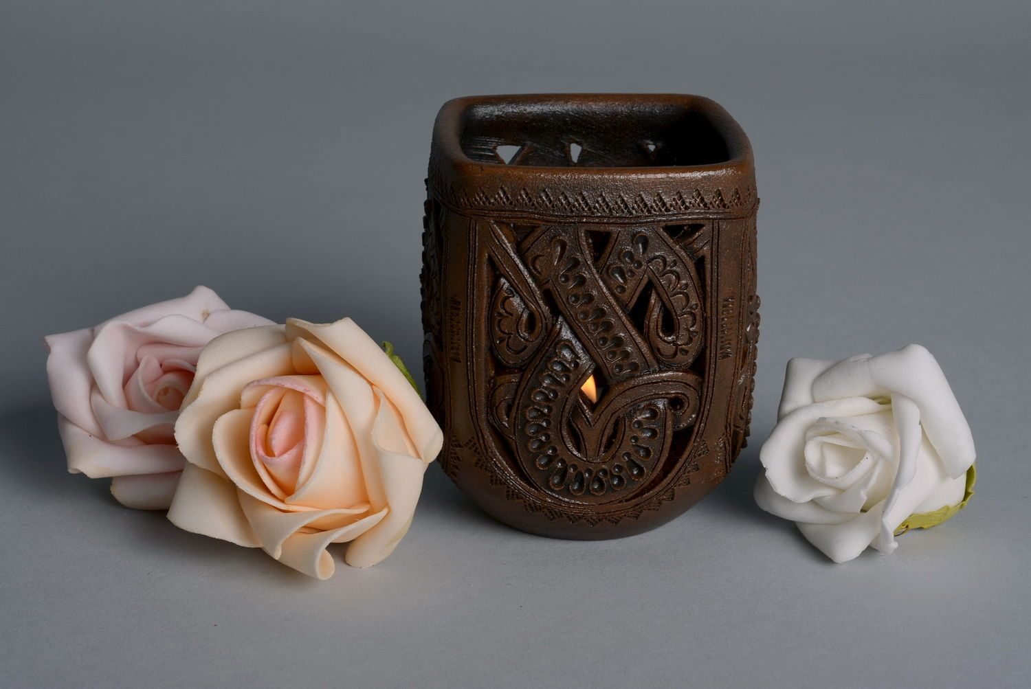 3 inches handmade brown vase for desk decore holder for pens and pencils 0,33 lb photo 4