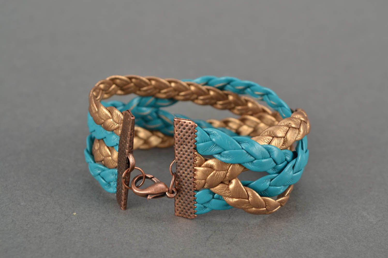 Zweifarbiges Armband aus Leder foto 4