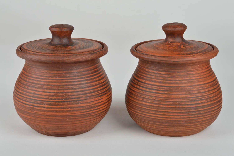 Madeheart potes con tapa hechos a mano para asado for Utensilios de cocina de ceramica