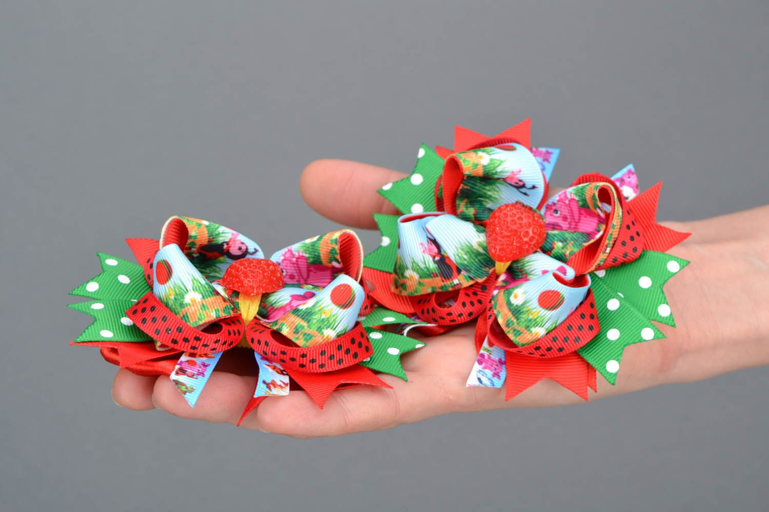 Hair clips with ribbons Strawberries photo 2