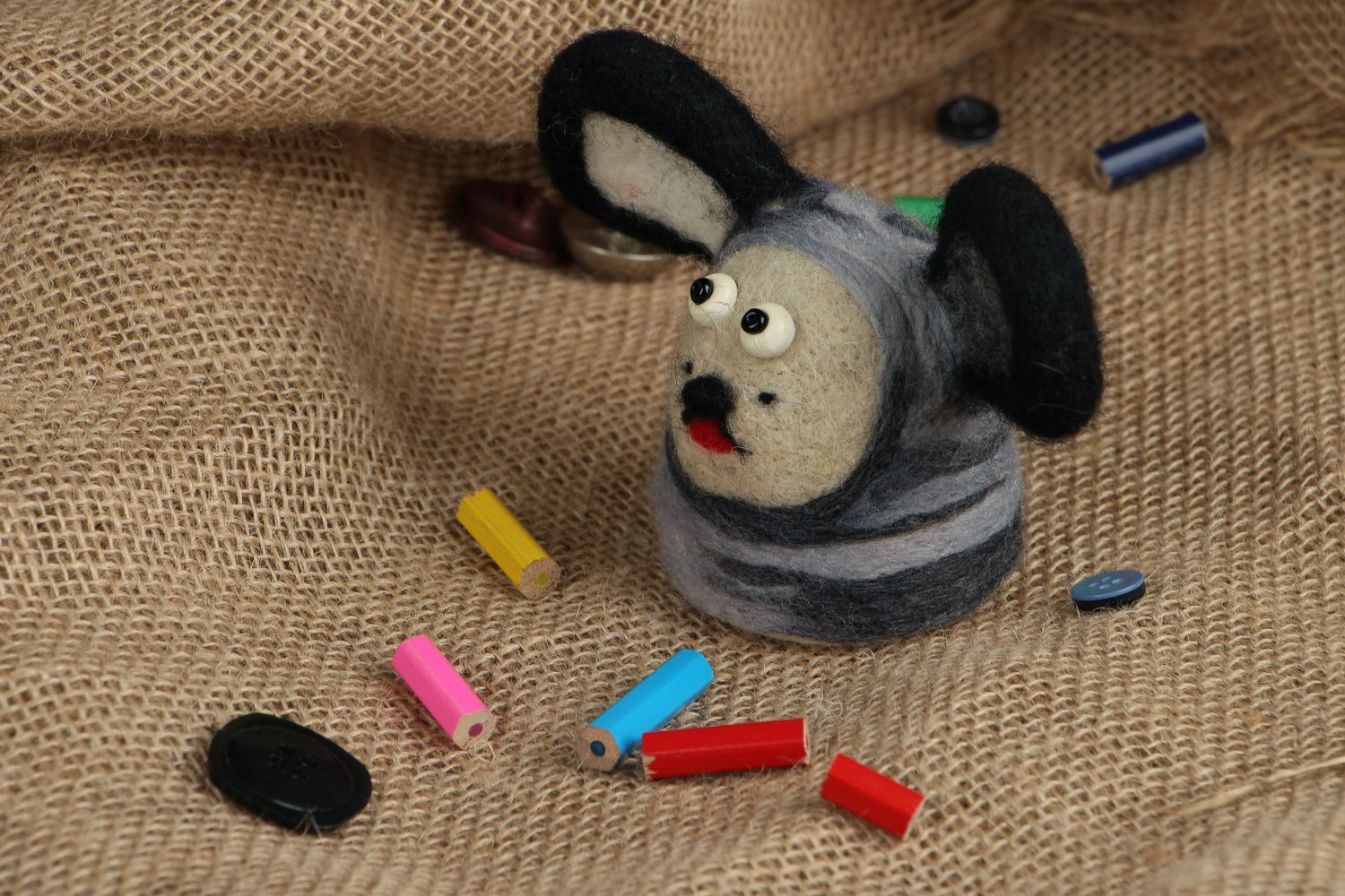 Toy made of felted wool Doggie photo 5