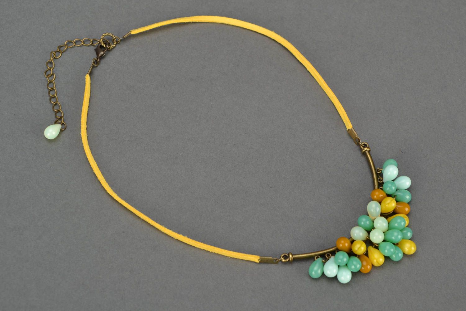 Beautiful women's handmade designer suede cord necklace with Czech glass beads photo 5