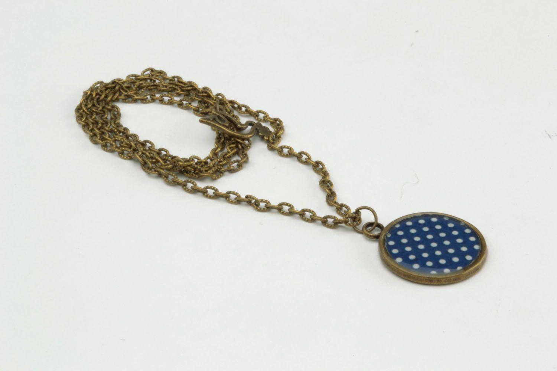 Polka dots pendant made of epoxy resin photo 5