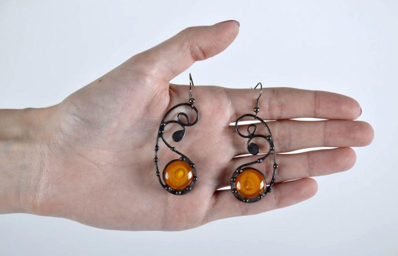 Beautiful long glass earrings photo 4