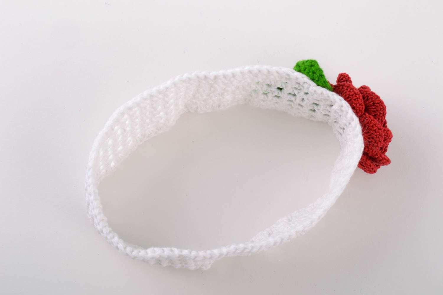 Handmade wide lacy crochet white headband with volume red flower for baby girl photo 5