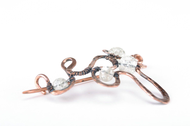 Wire wrap copper brooch photo 3