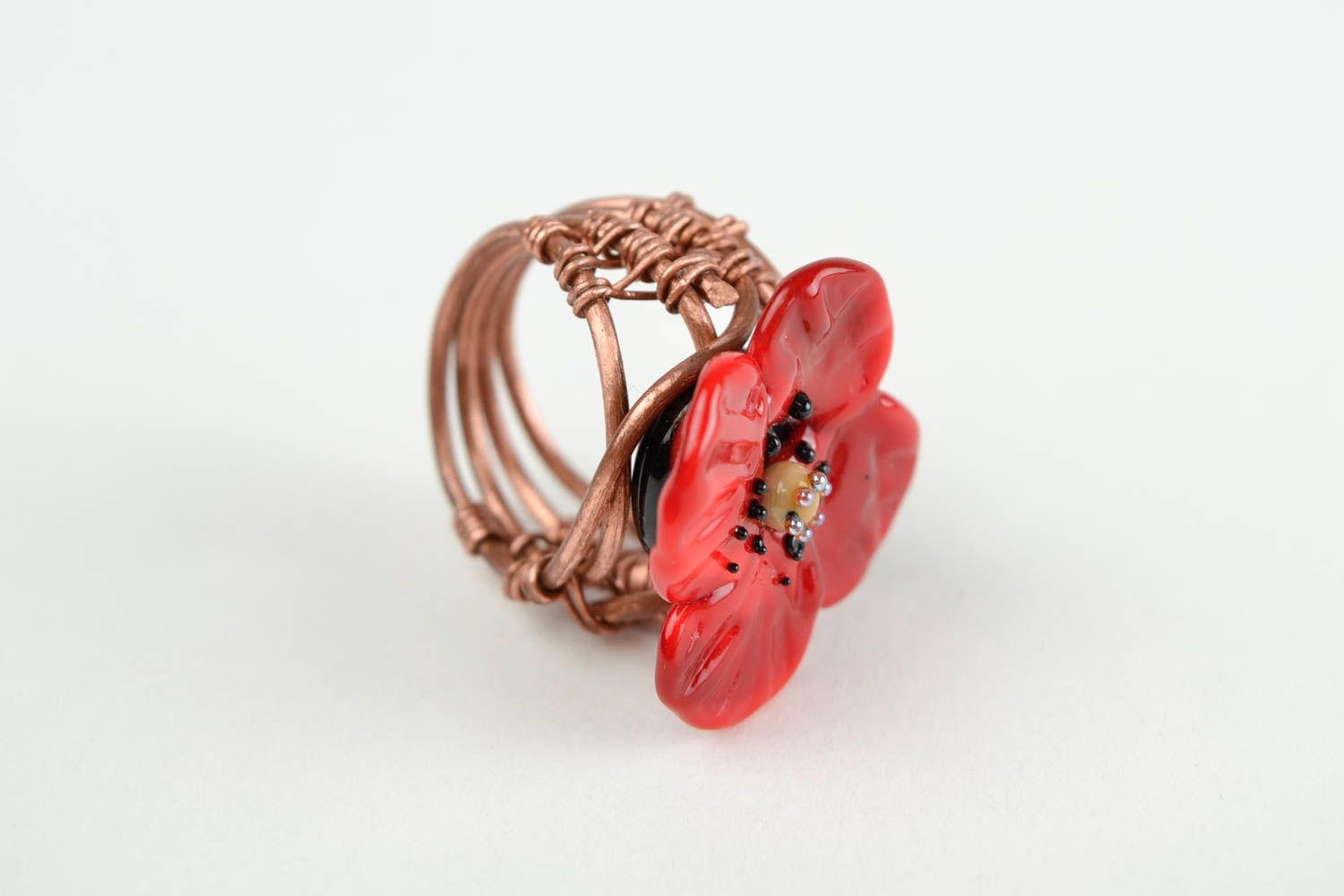 Handmade ring designer accessory gift for her unusual ring with flowers photo 4
