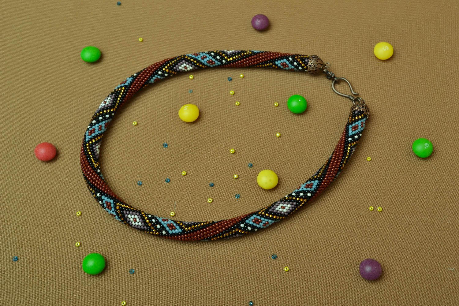 Beaded cord necklace with ornament photo 5