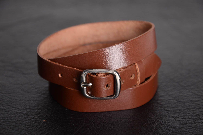 Unusual beautiful wide genuine leather bracelet designer unisex accessory photo 1