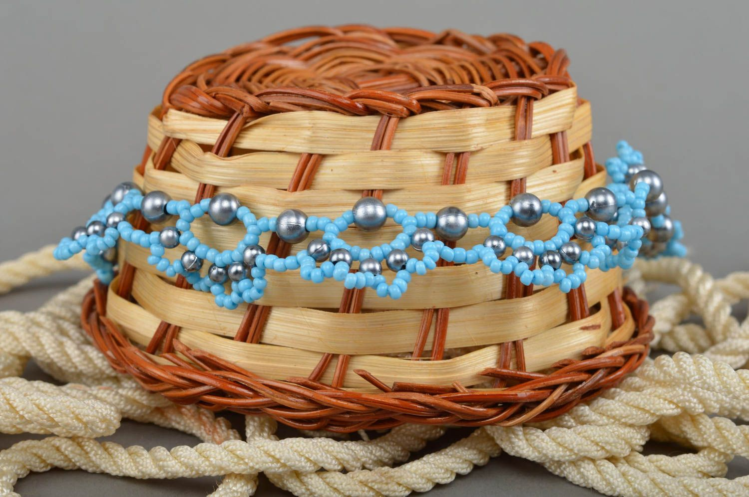 Female handmade blue necklace made of seed and large beads summer jewelry photo 1