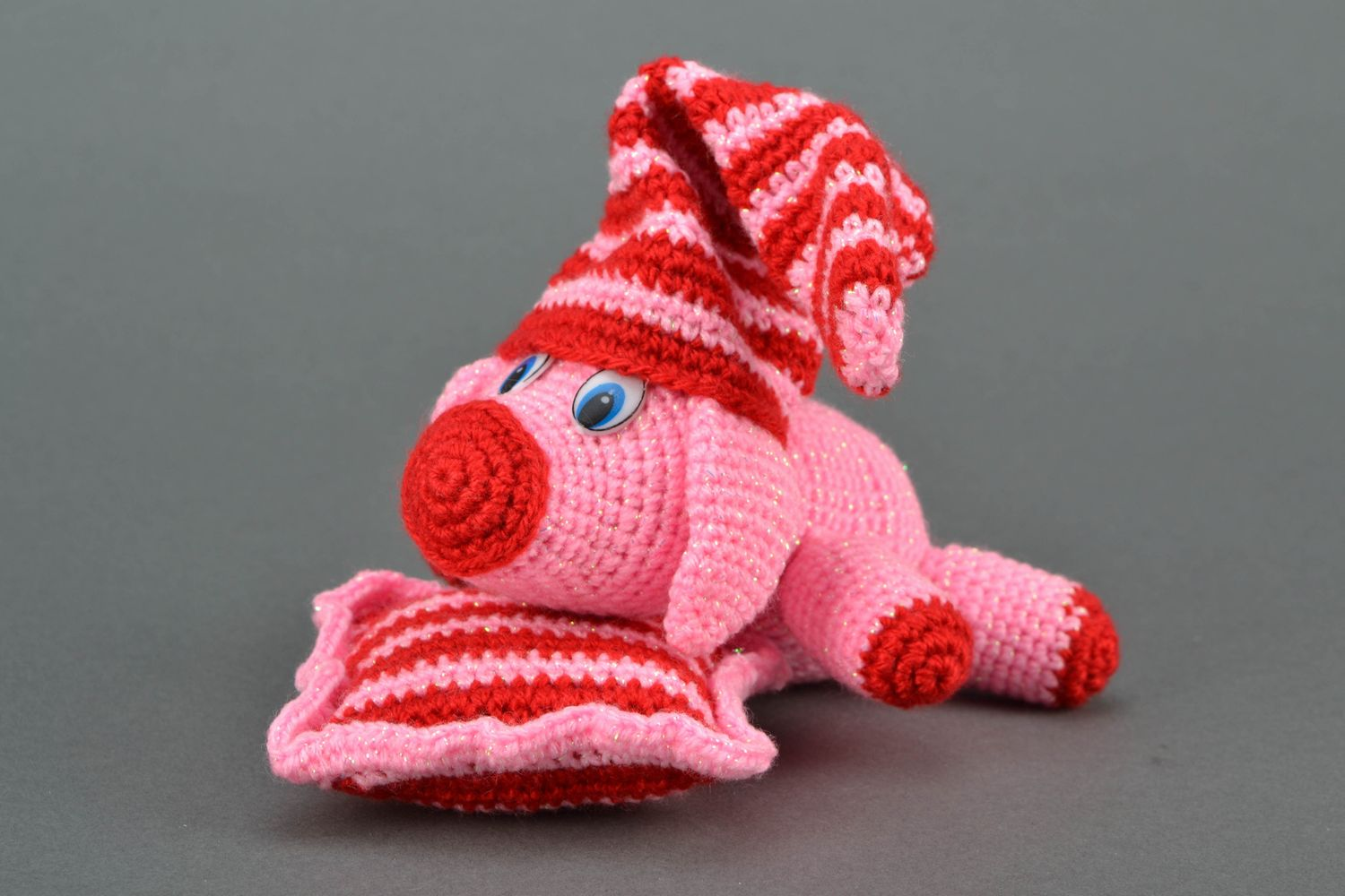 Soft crochet toy Pink Pig on Pillow photo 1