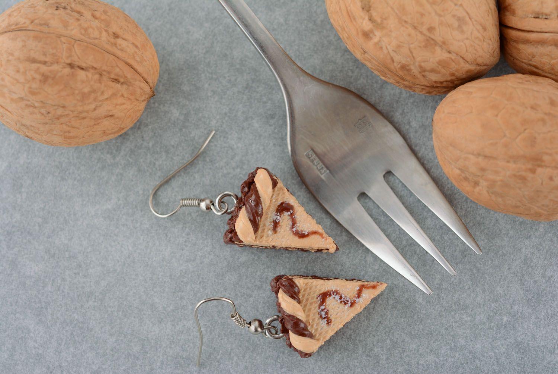 Серьги из полимерной глины Тортик фото 1