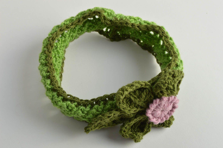 Sets Banda para el pelo con flor tejida a ganchillo verde hecha a mano para  niña