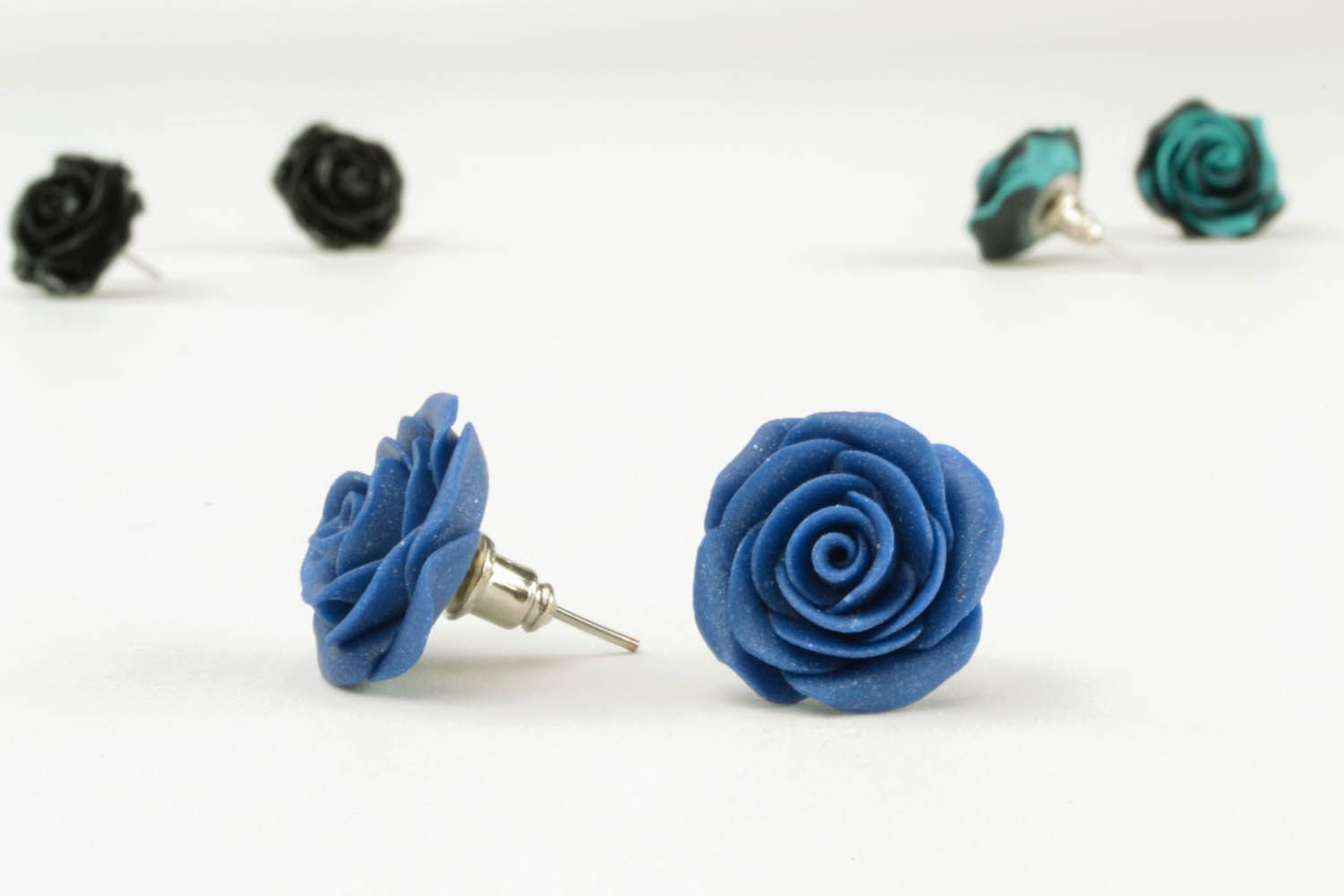 Polymer clay earrings Blue Roses photo 1