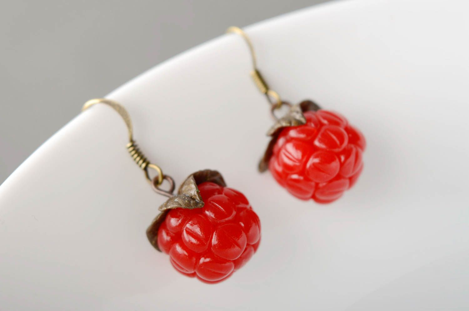 Polymer clay earrings with charms Raspberry photo 2