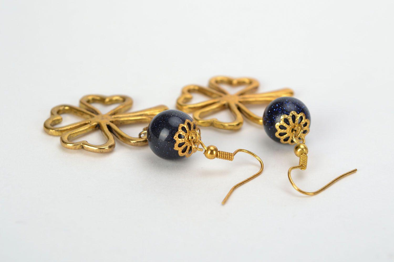 Earrings with aventurine Clover photo 4
