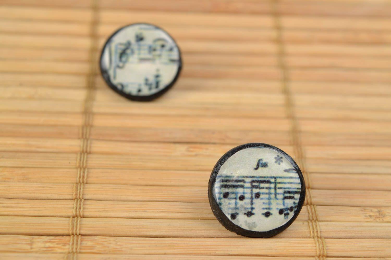 Homemade beautiful polymer clay round stud earrings Sheet Music photo 5