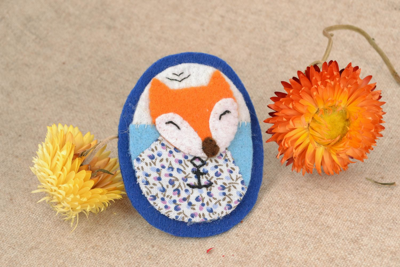 Textile felt brooch badge Fox photo 1