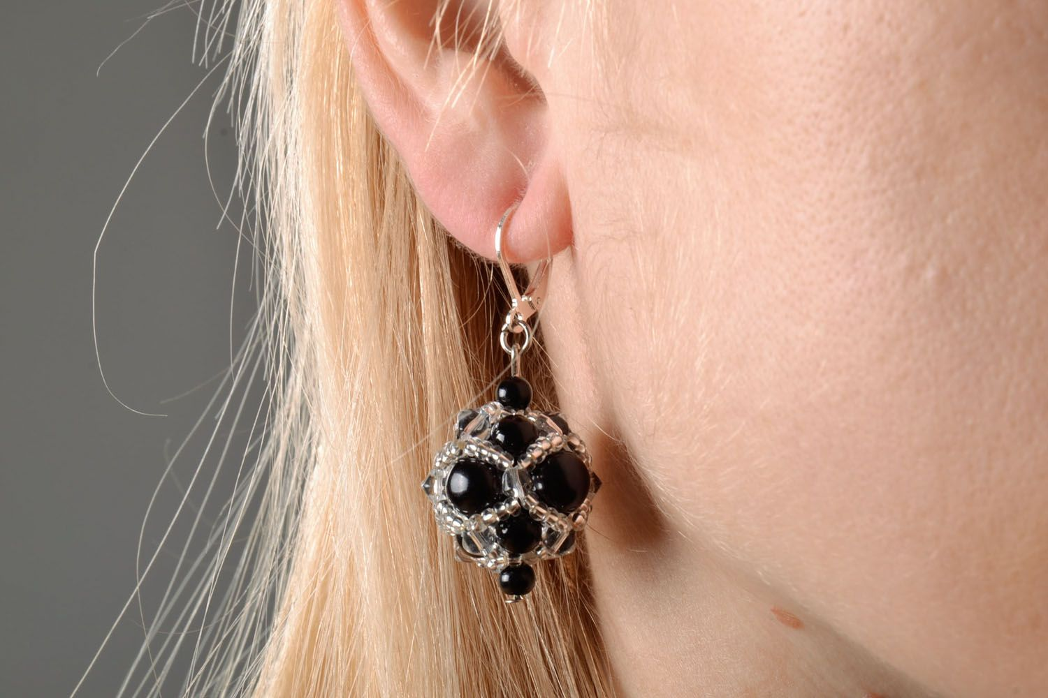 Evening earrings with black beads photo 5