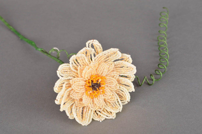 Handmade decorative flower woven of Chinese beads Cream Gerbera photo 5