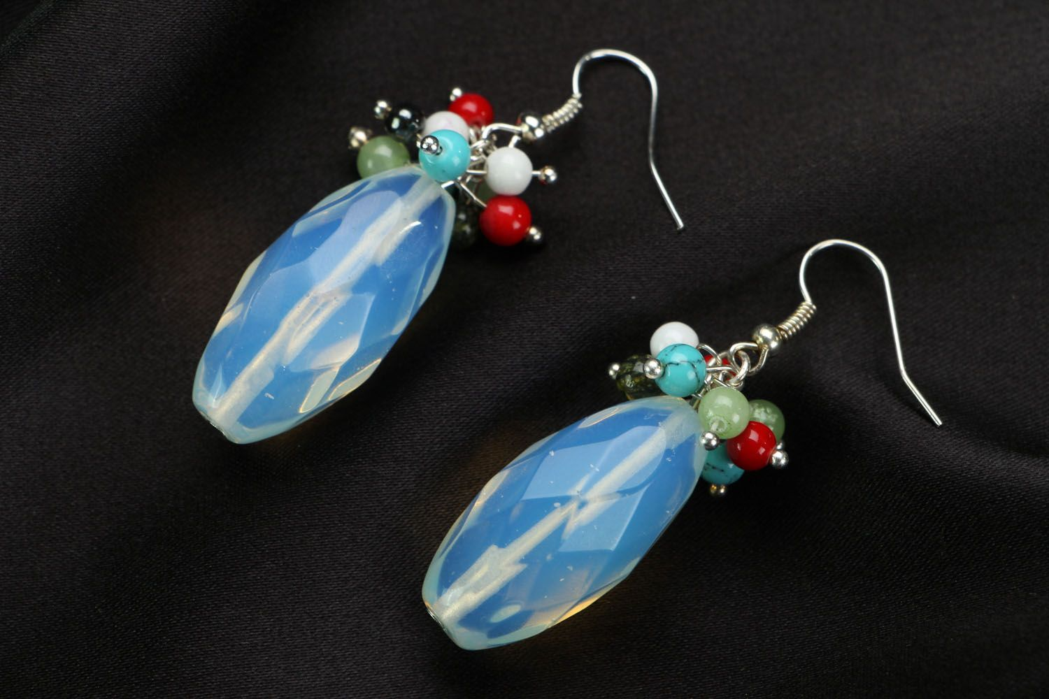 Earrings with moon stone photo 1