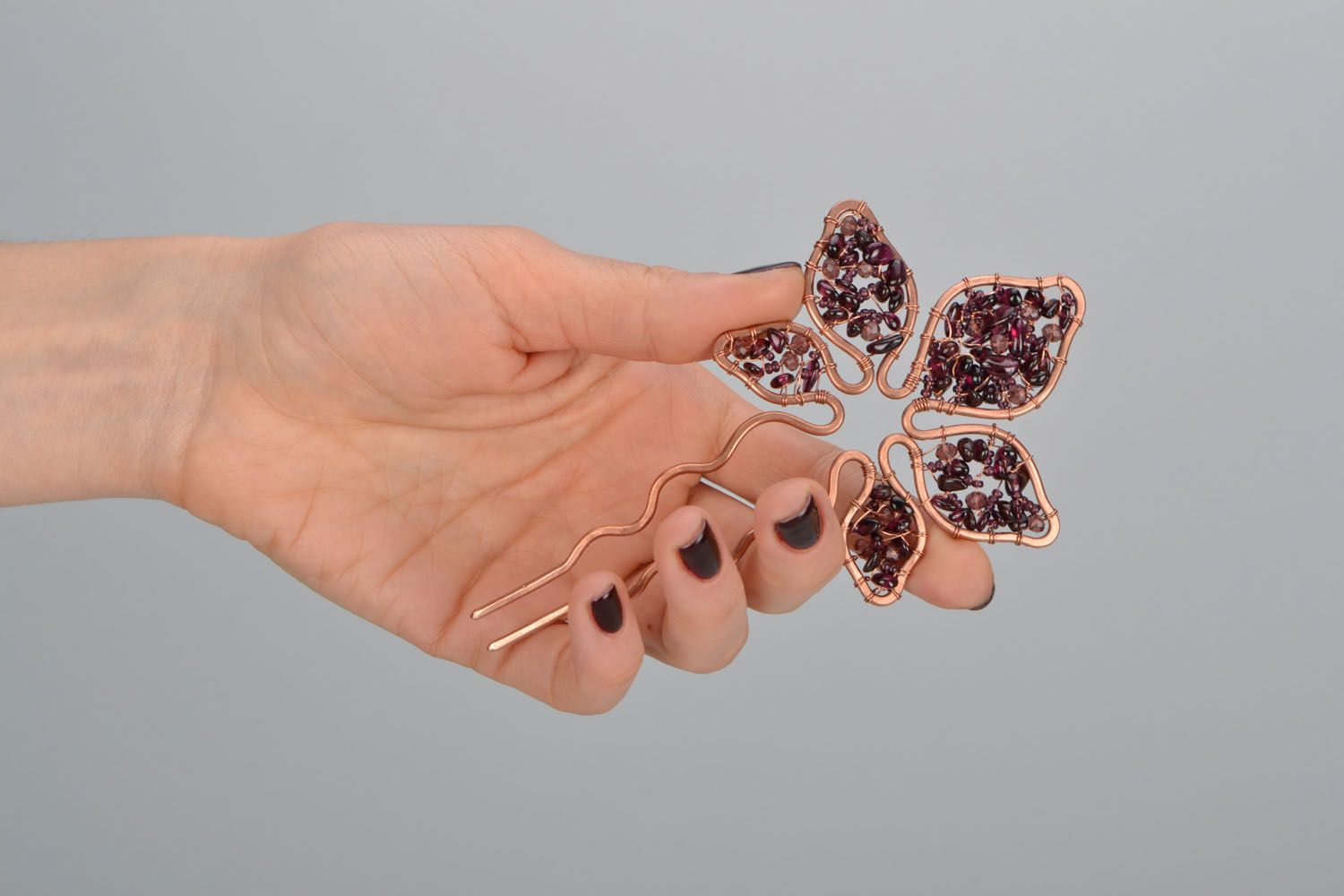 Unusual copper hairpin photo 2