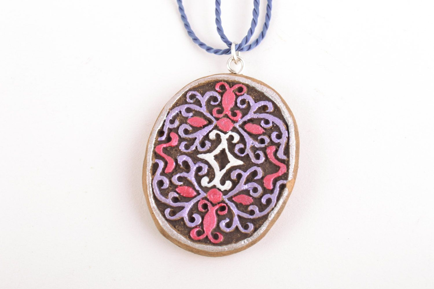 Women's homemade painted clay neck pendant of oval shape photo 3