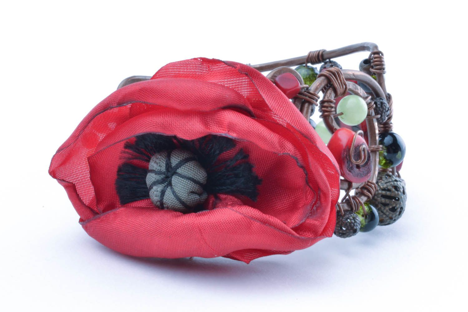 Copper bracelet with a flower Poppy photo 1