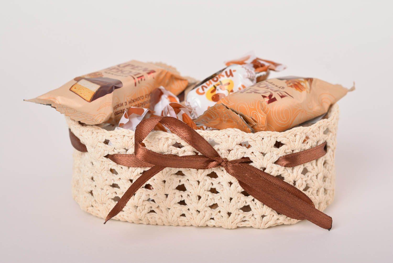 MADEHEART > Cesta tejida a ganchillo artesanal canasta decorativa ...