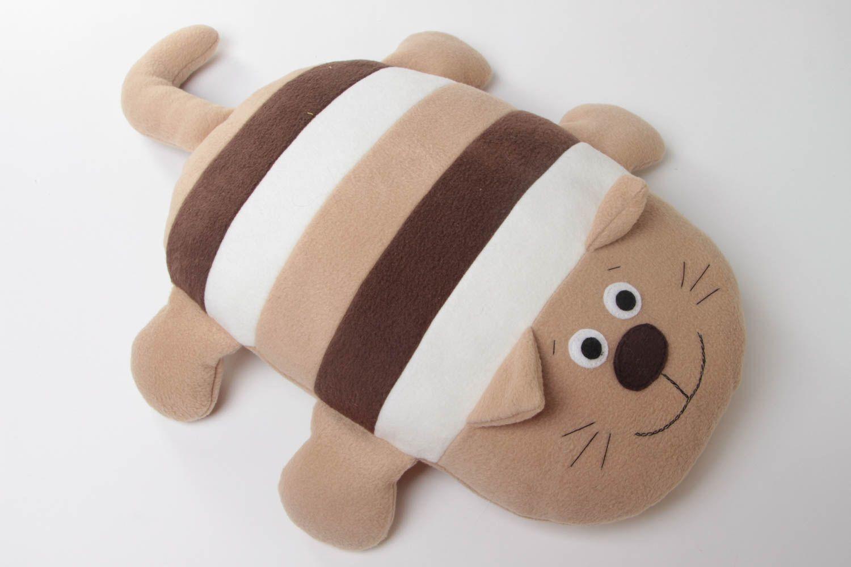 Beautiful handmade beige striped soft pillow pet cat for children photo 2
