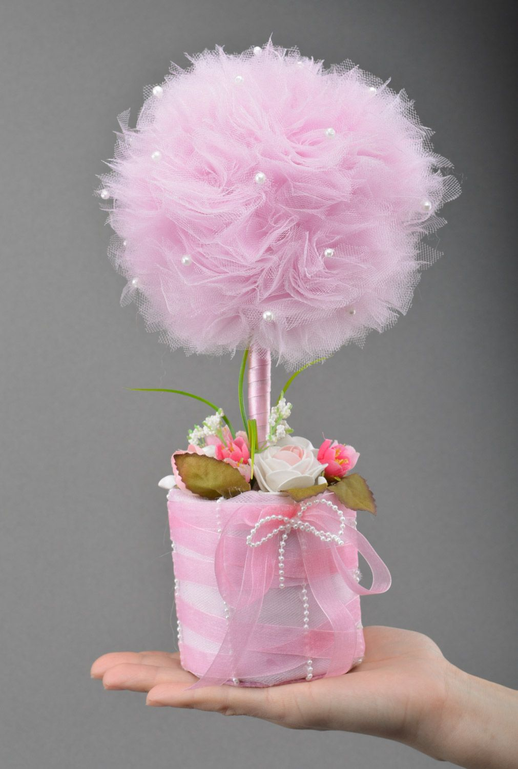 Madeheart Handmade Tender Volume Topiary Tree With Pink Tulle And