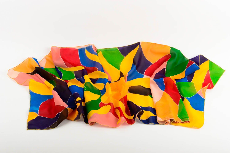 Elegant scarf handmade painted scarf women accessory designers batik technique photo 2