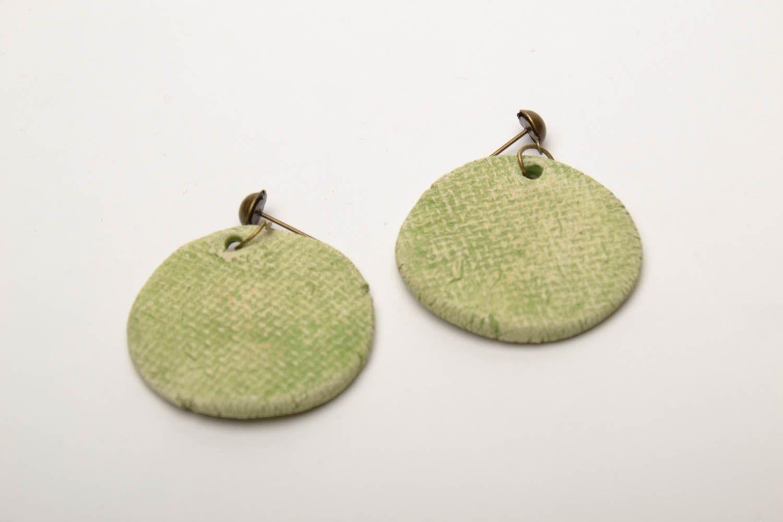 Ceramic round earrings photo 5