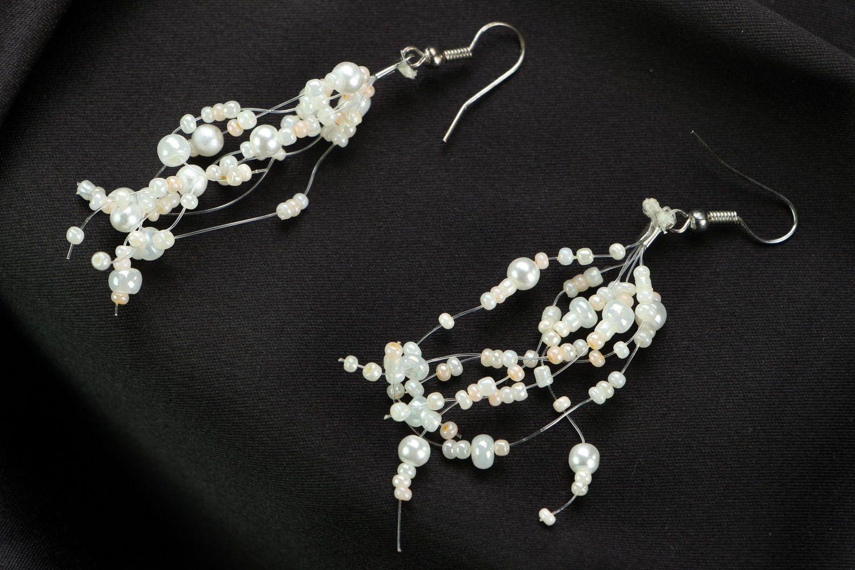 Long beaded earrings Bride photo 1