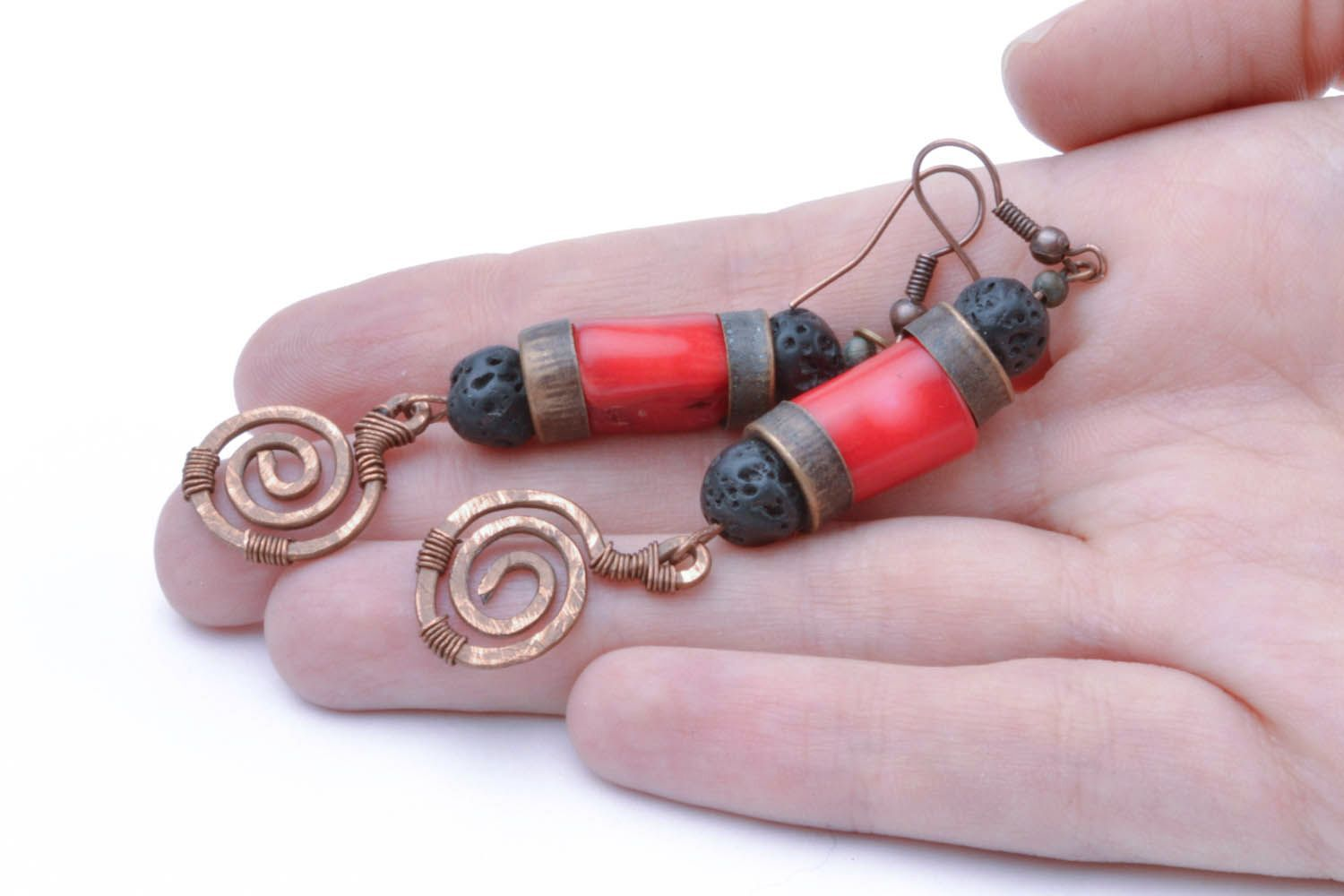 Copper coral earrings Salome photo 1
