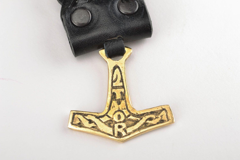 Braided leather bracelet Thor's Hammer photo 3
