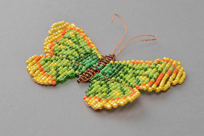 Handmade fridge magnet woven green butterfly made of beads photo 3