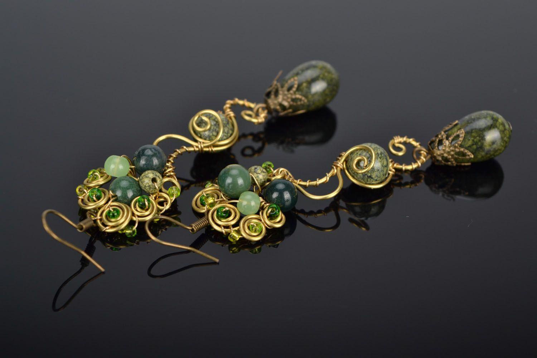 Handmade metal earrings with natural stones photo 1
